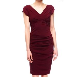 BCBGMaxazria Vita Ruched Sheath Dress in Bordeaux